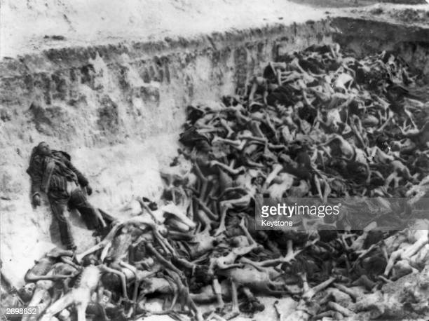 Bodies of victims of starvation and disease being buried in a mass grave at BergenBelsen concentration camp in Germany The camp was liberated by the...