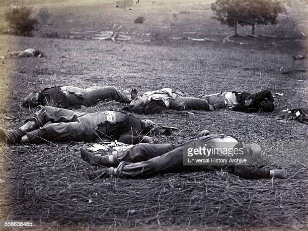 Bodies on the battlefield after the Battle of Gettysburg, July 1–3 during the American Civil War. The battle involved the largest number of...