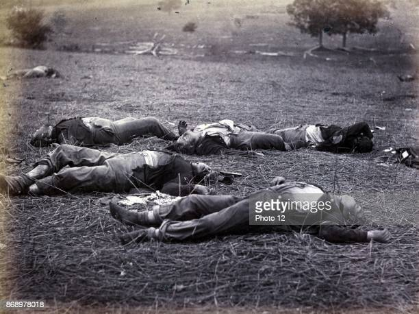 Bodies on the battlefield after the Battle of Gettysburg, July 13 during the American Civil War. The battle involved the largest number of casualties...