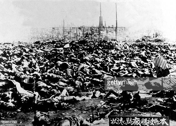 SEPTEMBER 1923 Bodies outside the Rikugun Honjo Hifukusho in downtown Tokyo following the Great Kanto Earthquake of 1st September 1923 Around 38000...