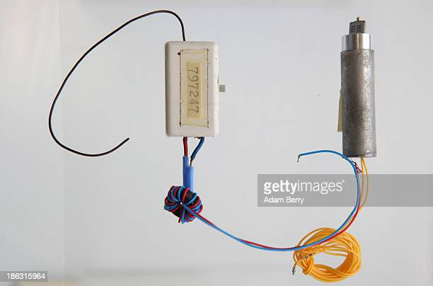 A 'Bodil' eavesdropping device or bug produced in Germany in the 1980s sits on display at the Stasi or East German Secret Police Museum on October 30...