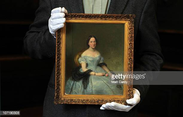 Bodleian curator Stephen Hebron holds a new portrait of Mary Shelley recently donated to the Bodleian Libraries as he prepares for Bodleian Libraries...