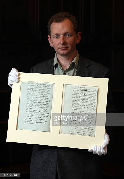 Bodleian curator Stephen Hebron holds the original manuscript of Frankenstein by Mary Shelley as he prepares for Bodleian Libraries University of...