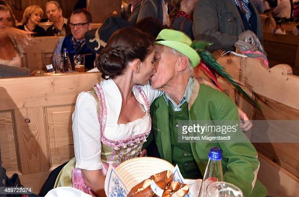 Bodo E Mueller and his wife Tanja Mueller attend the Radio Gong 963 Wiesn at Weinzelt during the Oktoberfest 2015 on September 23 2015 in Munich...