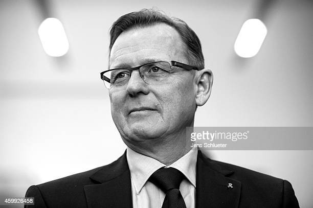 Bodo Ramelow head of the Die Linke party faction in the Thuringia state parliament is seen before the signing the coalition contract between the...