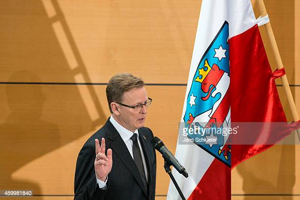 Bodo Ramelow head of the leftist Die Linke party faction in the Thuringia state parliament is sworn in as the new governor of Thuringia on December 5...