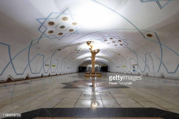 bodomzor subway station in tashkent, uzbekistan - underground sign stock pictures, royalty-free photos & images