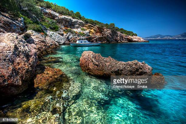 bodrum on the rocks - aegean turkey stock pictures, royalty-free photos & images
