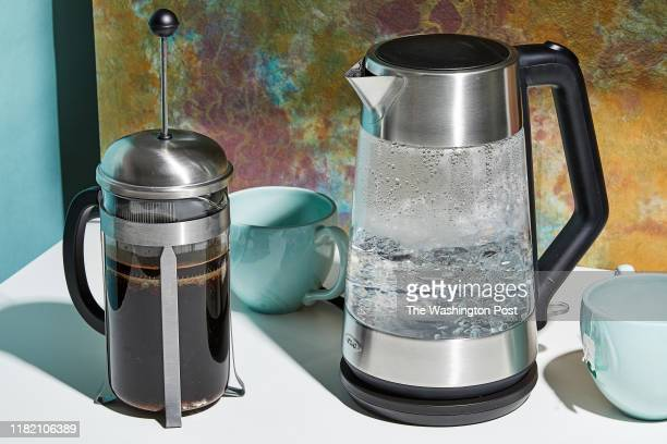 Bodum Chambord French Press OXO On Clarity Cordless Glass Electric Kettle Photographed for Voraciously at The Washington Post via Getty Images in...