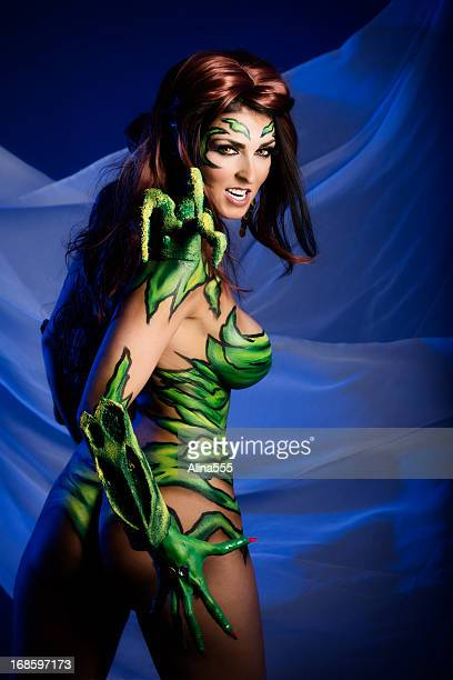 Body art: angry alien creature with sharp claws