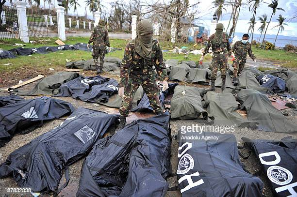 Body bags lie on the ground left from Typhoon Haiyan is seen on November 13 2013 in Tacloban Philippines Haiyan possibly the most powerful typhoon on...