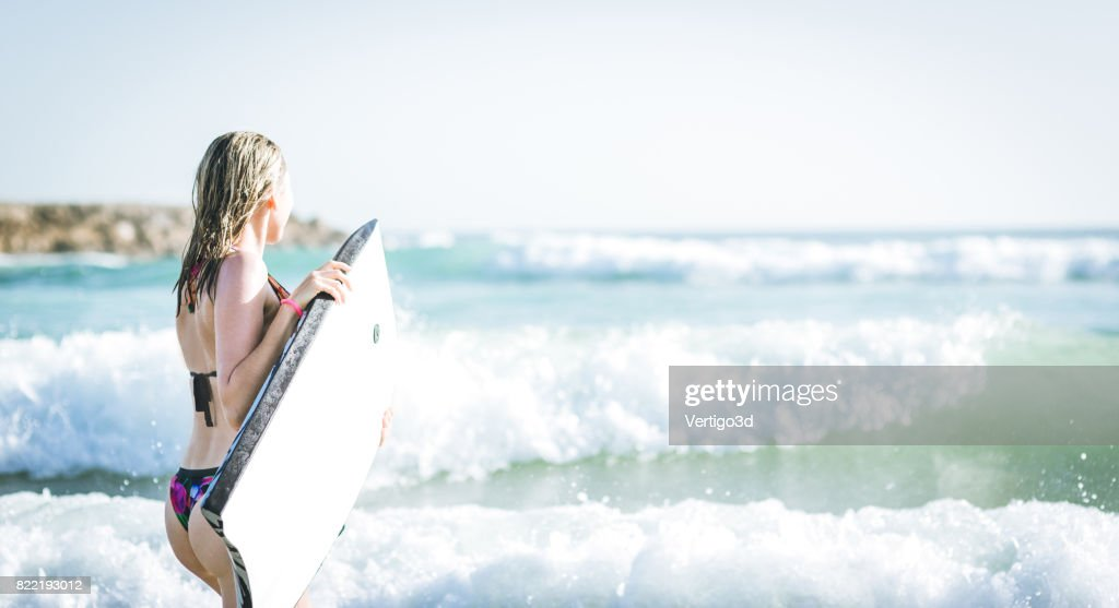 Body board woman : Stock Photo