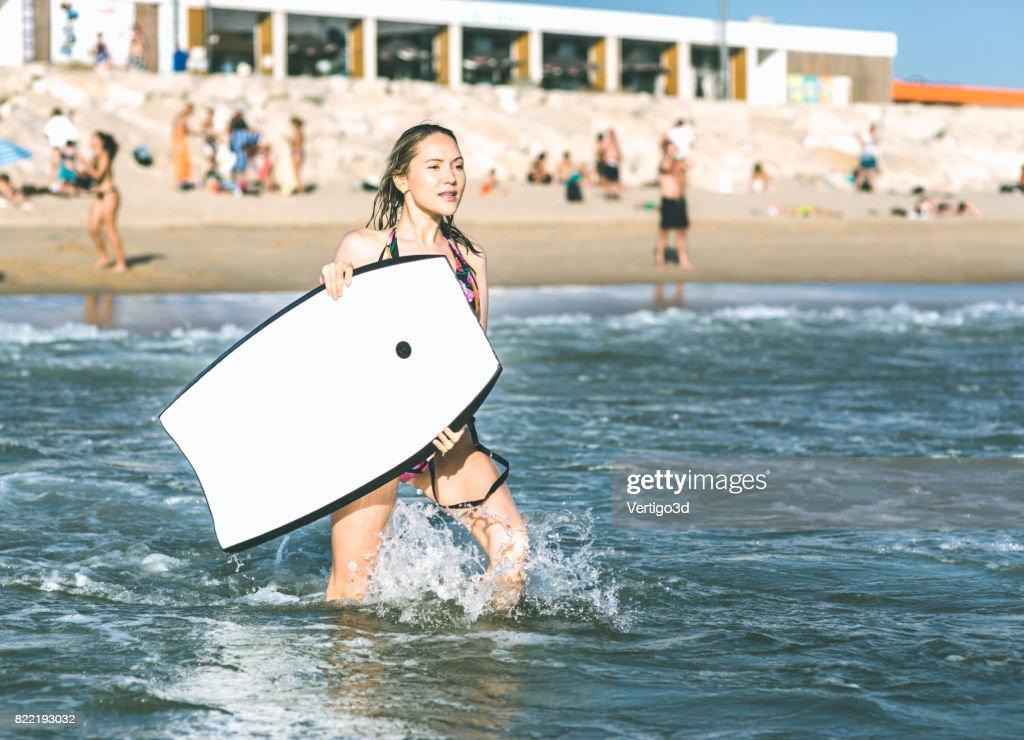 Body board woman : Stock Photo
