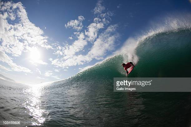 Body Boarder dropping down face of wave, Brighton Beach, Durban, Kwazulu Natal, South Africa