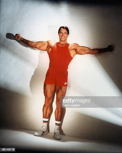 Body builder actor and future Governor of California Arnold Schwarzenegger poses for a portrait session on June 13 1985 in Los Angeles California