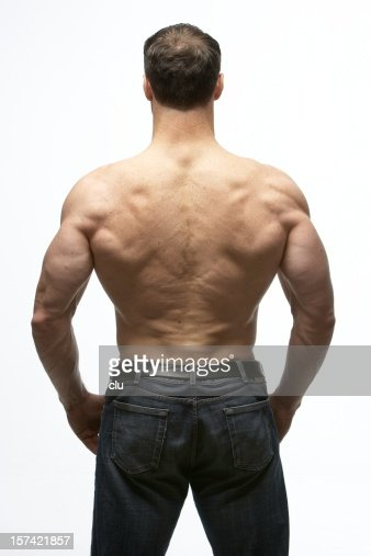 Body Builder Back View Stock Photo