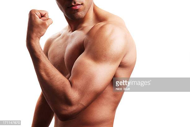 Body builder flexing biceps