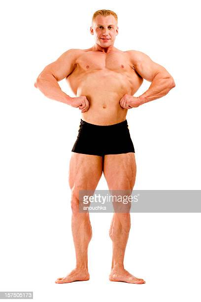 Body Builder Posing on white background