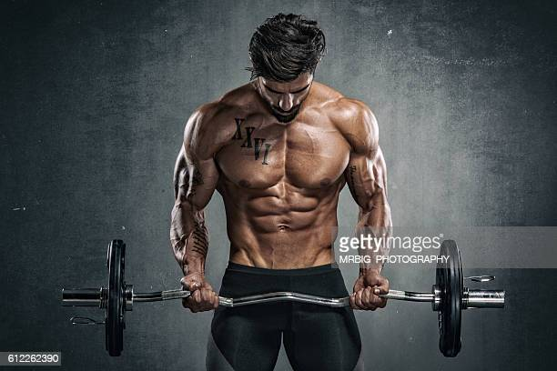 body building workout - bodybuilding stockfoto's en -beelden