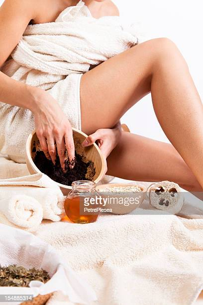 Body Care. Organic Natural Cellulite massage with Coffee Scrub. Oats.