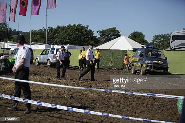 A body is found and Police seal off the Backstage VIP hospitality area at Glastonbury Festial on June 26 2011 in Glastonbury England Somerset and...