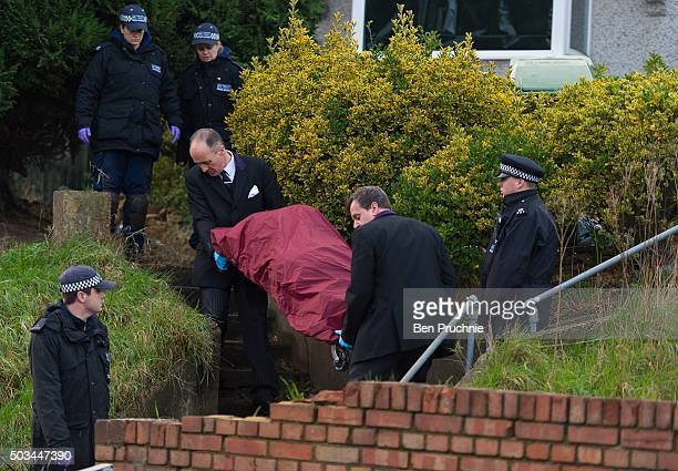 A body is removed from the home of Eastenders actress Sian Blake on January 5 2016 in London England The former Eastenders actress and her two sons...