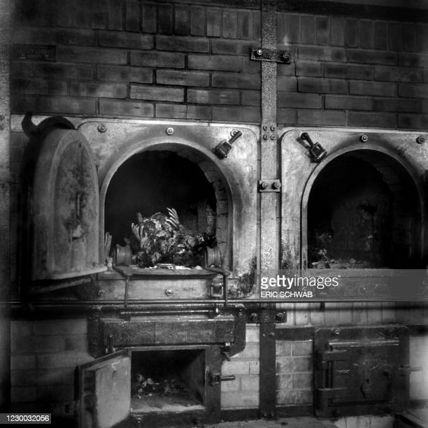 Body is seen in a crematory oven in the Buchenwald concentration camp in April 1945. The construction of Buchenwald camp started 15 July 1937 and was...