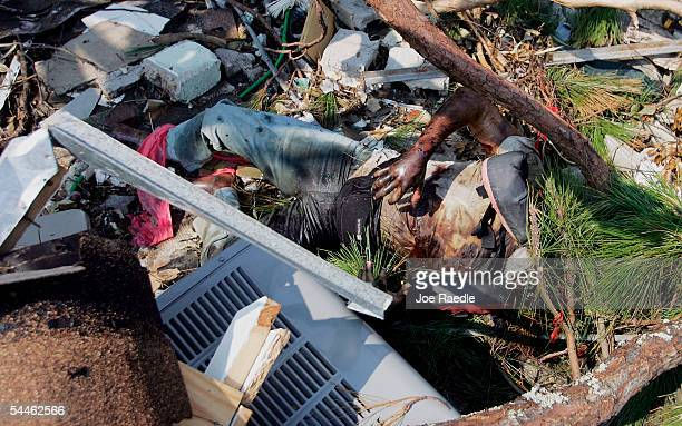 A body lays in debris after Hurricane Katrina passed through September 3 2005 in Waveland Mississippi Bodies are still being found days after the...