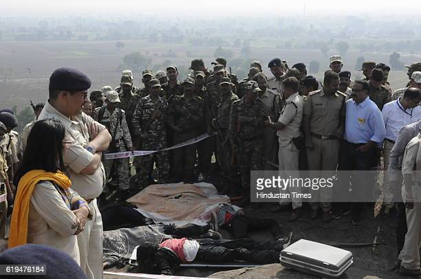 Body of SIMI terrorists killed in an encounter lying on ground at Acharpura on October 31 2016 in Bhopal India Eight SIMI terrorists had broken out...