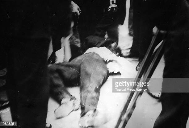 Body of the assassin of King Alexander of Yugoslavia Petrus Kaleman after he was killed by an angry mob in Marseilles