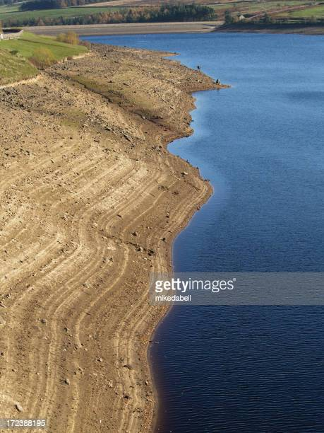 A body of water at low level showing lines on exposed bank