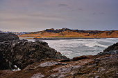 landscape iceland body water rocks visible