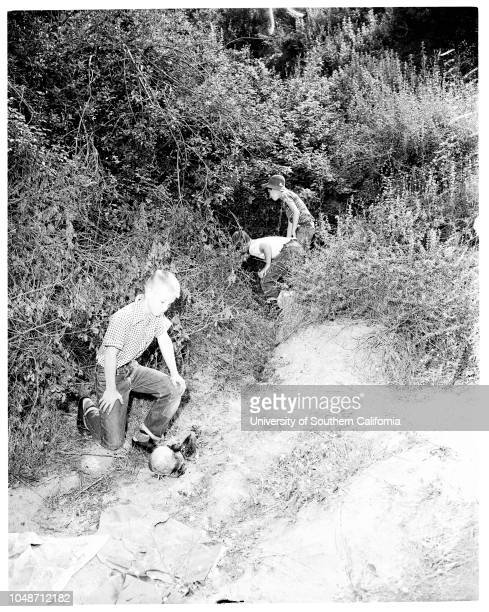 Body of woman found in Hollywood Hills 22 June 1954 Timmy Mahler 10 yrsMike Doud 10 yrsJerry Robinson10 yrsCaption slip reads 'Photographer Lapp Date...