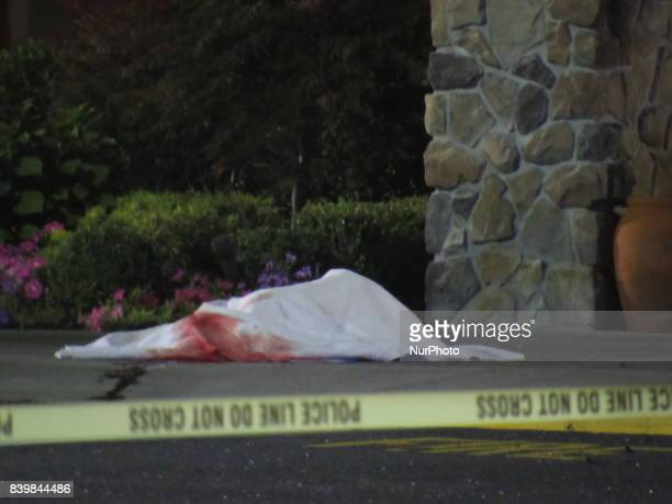 Body on ground Two dead in crash outside shopping mall at Bergen Town Center Mall in Paramus New Jersey on August 27 2017