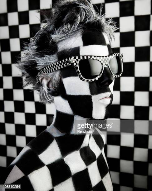 Body Paint Art: Checkered Woman