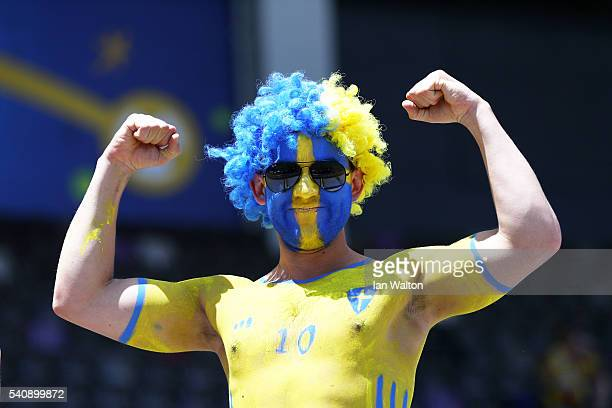 A body painted Sweeden supporter enjoys the pre match atmosphere prior to the UEFA EURO 2016 Group E match between Italy and Sweden at Stadium...