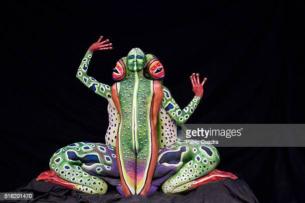 Body Painting artists perform a figure of a frog during 'El Hormiguero' Tv Show at Vertice Studio on March 17 2016 in Madrid Spain