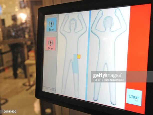 A body profile is displayed Australia's first full body scanner at Sydney International Airport on August 1 2011 A trial using the L3 ProVision Body...