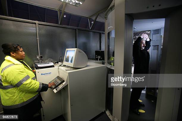 A body scanner is tested at the Heathrow Express boarding platform at Paddington station in West London England Wednesday January 11 ahead of the...