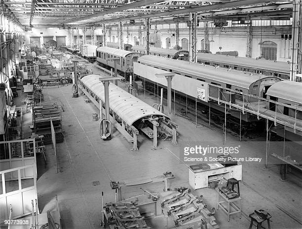 Body shop in York carriage works, 10 March 1952. York carriage works opened in 1884, for the building and repair of Great Eastern Railway carriages....