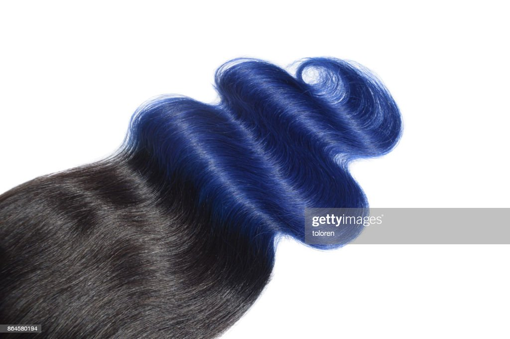 Body Wavy Two Tone Black With Blue Human Hair Weave Extension Lace