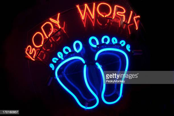 Body Work Massage Message with Feet Neon Sign