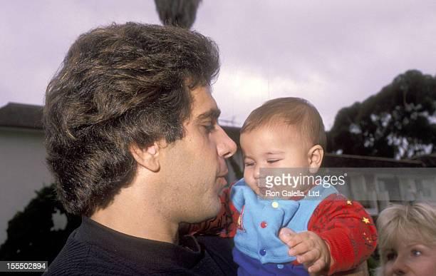 Bodybuilder and Actor Lou Ferrigno and son Brent Ferrigno attend Saint Monica Catholic High School's Oktoberfest on October 6 1990 at Saint Monica...
