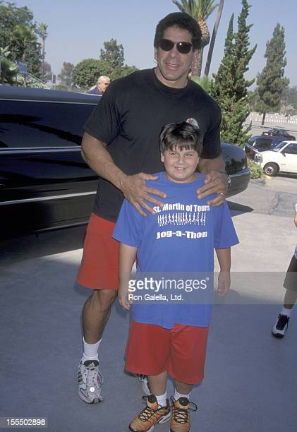 Bodybuilder and Actor Lou Ferrigno and son Brent Ferrigno attend the 41st Annual Hollywood Stars Night' Celebrity Baseball Game on July 31 1999 at...