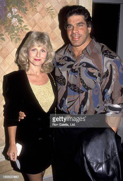 Bodybuilder and Actor Lou Ferrigno and wife Carla Green attend a Holiday Party hosted by Jean and Casey Kasam on December 21 1991 at the Home of Jean...