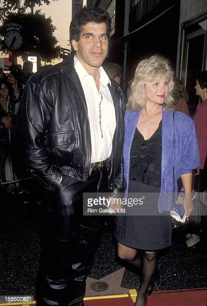 Bodybuilder and Actor Lou Ferrigno and wife Carla Green attend the Total Recall Burbank Premiere Party on May 31 1990 at Griffith Park in Burbank...