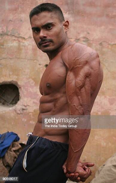 Bodybuilder participates at Mr Delhi bodybuilding contest at Uttam Nagar New Delhi