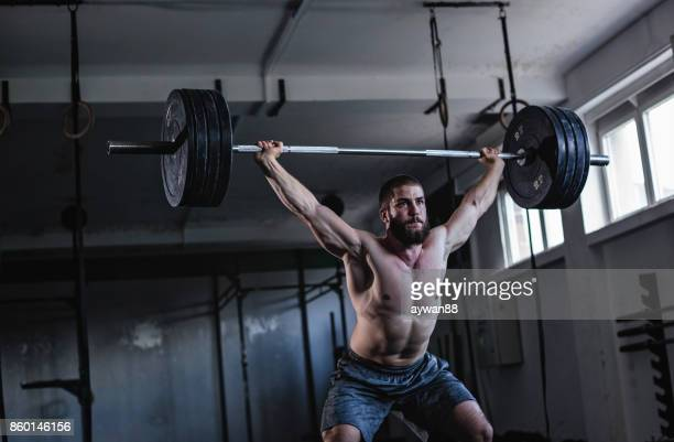 bodybuilder - snatch weightlifting stock photos and pictures