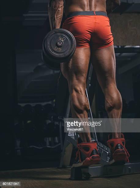 Bodybuilder training calves in gym