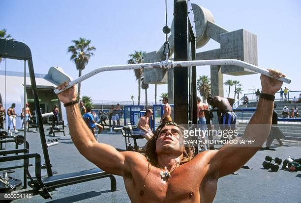 Bodybuilders at Muscle Beach Venice in Los Angeles